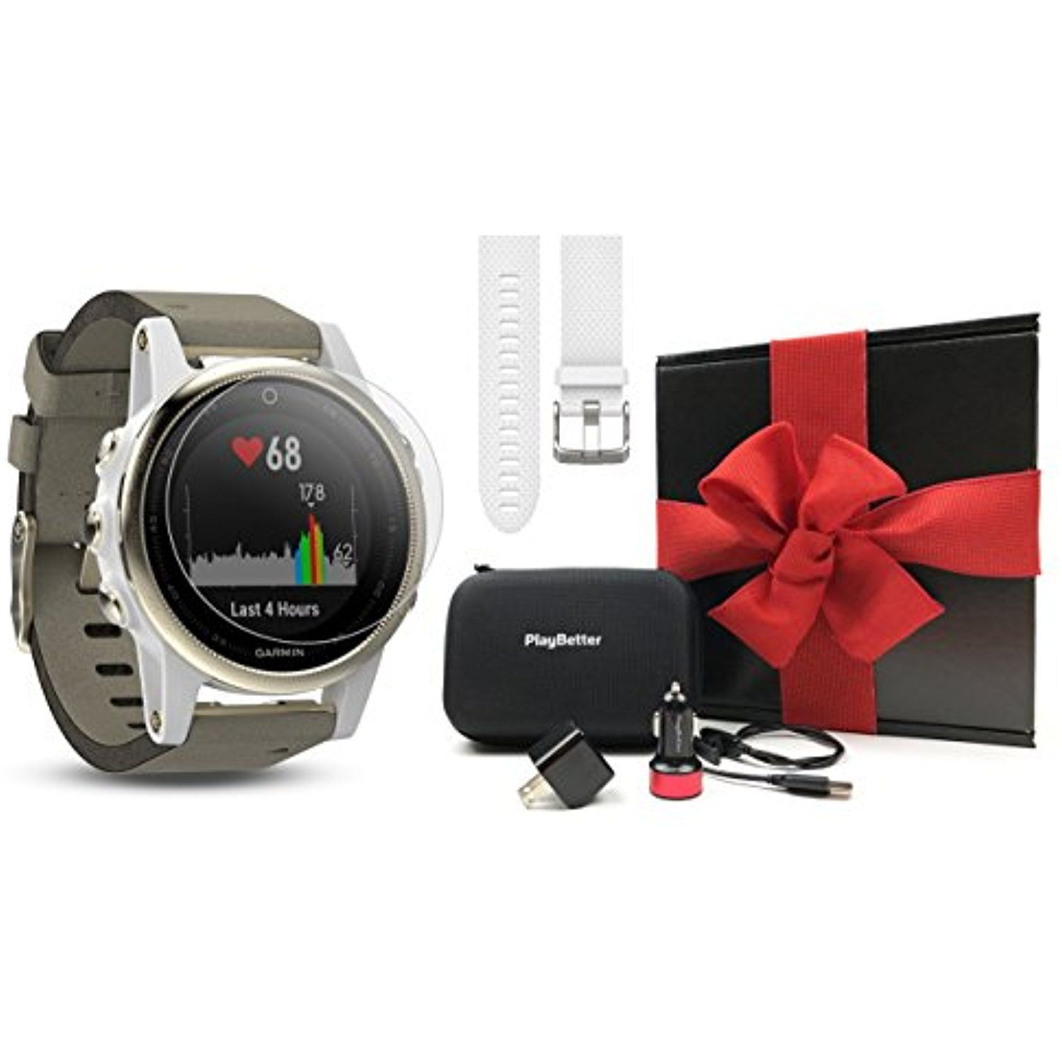 c3c27926eef Garmin fenix 5S Sapphire (Champagne with Suede Band) GIFT BOX Bundle |  Includes Extra Band (White), Screen Protector, PlayBetter USB Car/Wall  Adapters, ...