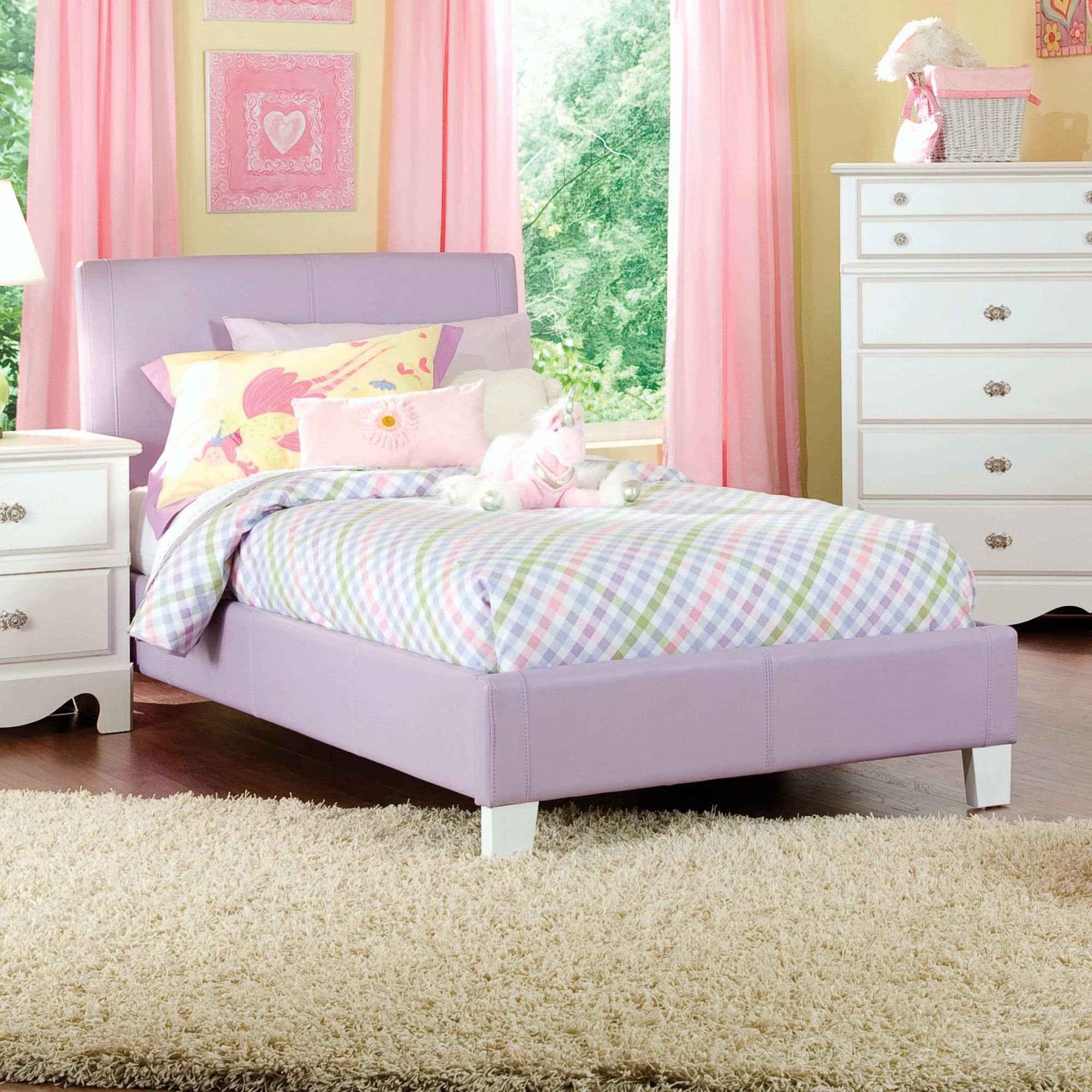 purple bedroom chair standard furniture fantasia upholstered bed purple 12952