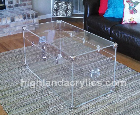 Acrylic Lucite Clear Large Trunk Coffee Table By Highlandacrylics