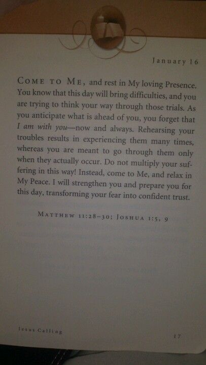 Jesus calling january 16