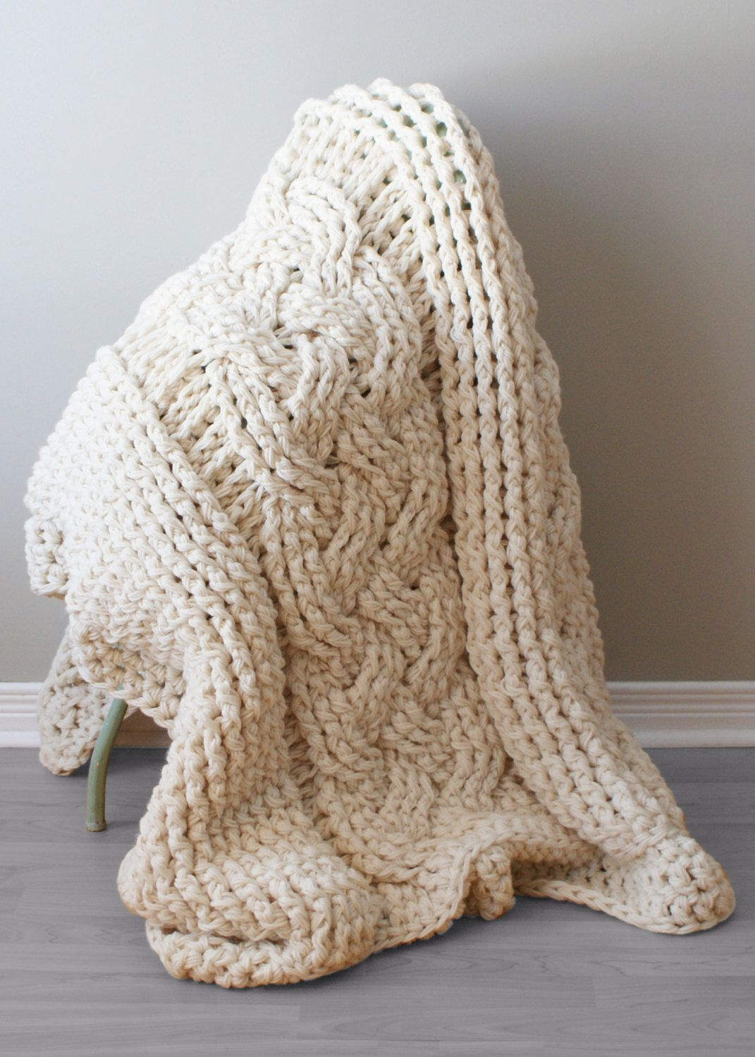 DIY Crochet PATTERN - Throw Blanket / Rug Super Chunky Double Cable  Approximately 45