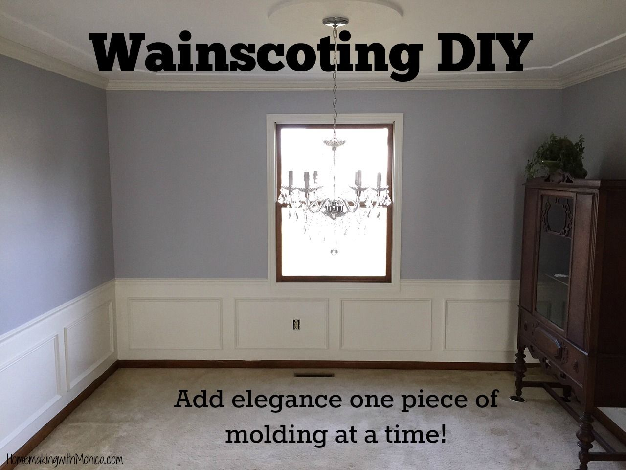 Wainscoting DIY. Add elegance to your home one piece of molding at a time!