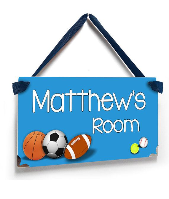 personalized sports themed kids bedroom door sign by kasefazem