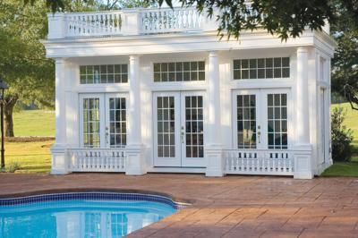 pool house with a classic colonial design httpwwwpoolspaoutdoorcom