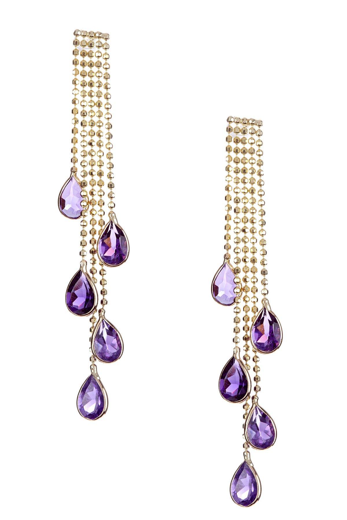Dangling Amethyst Chandelier Earrings
