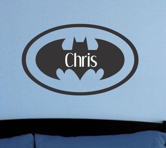 Boys Room Superhero Batman Symbol With Name Vinyl Wall Decal Home