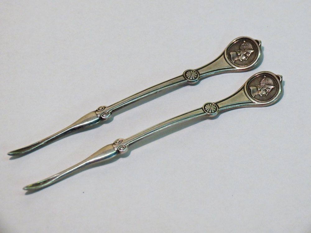 Reed & Barton Roman Medallion Nut Picks 1868 Silver Plate. $22.00
