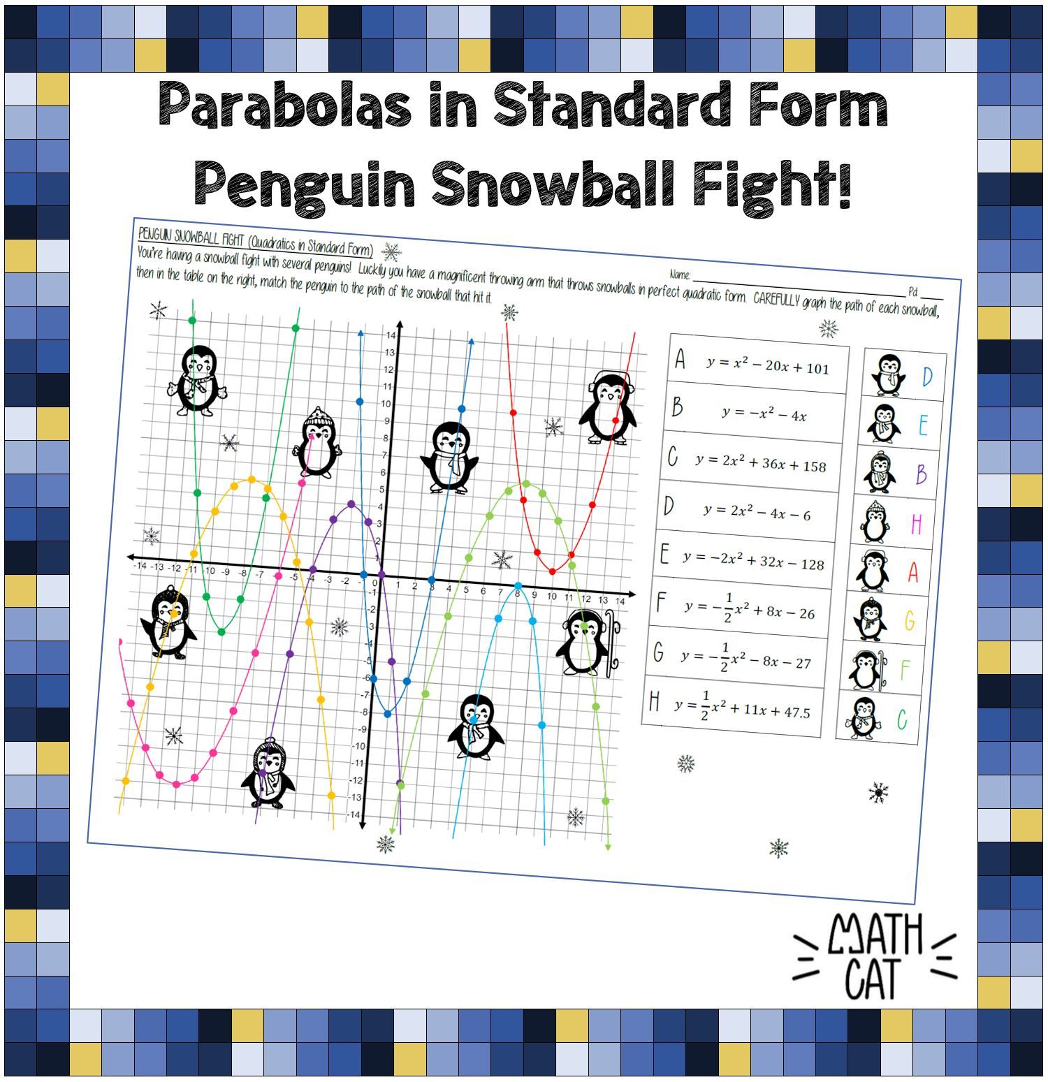 Graphing Quadratic Functions In Standard Form Penguin Snowball