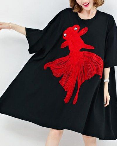 Oversize embroidered t shirt dress goldfish loose style for women