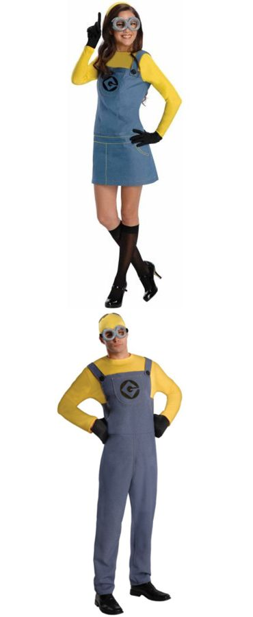 minion halloween costume adults, easy halloween costumes, couples - his and her halloween costume ideas
