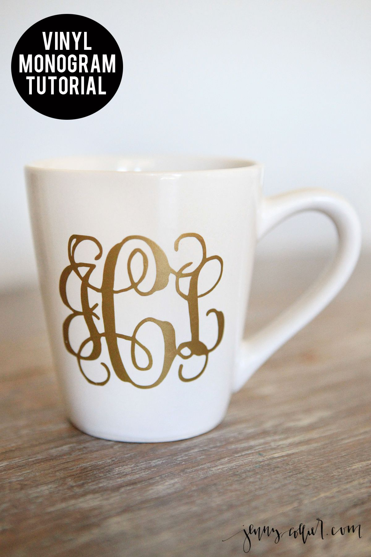 After getting a Cricut and discovering all of the vinyl projects these DIY Vinyl Monograms have become my favorite.  Place the vinyl on coffee mugs, wine glasses, you name it.  A perfect DIY gift idea!