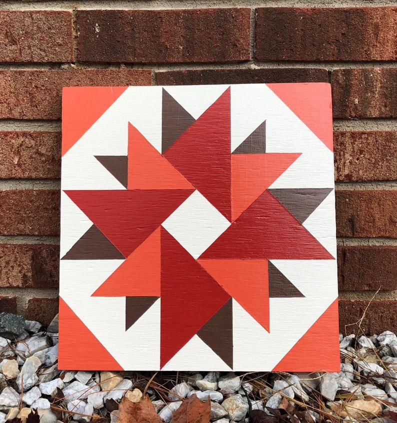 Hand Painted Rustic Barn Quilt 2 X2 Double Aster Etsy Painted Barn Quilts Barn Quilt Patterns Barn Quilt Designs
