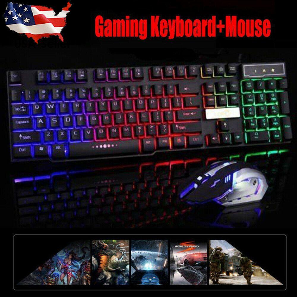 Colorful Crack LED Illuminated Backlit USB Wire PC Rainbow Gaming Keyboard New
