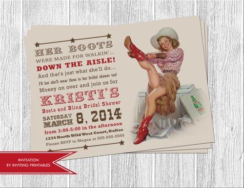 western cowgirl bridal shower invitation