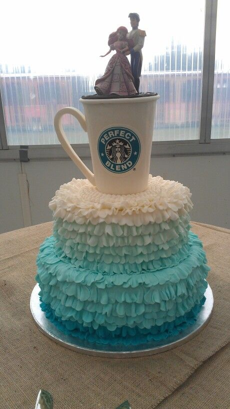 Chelsea And Kienans Wedding Cake The Starbucks Cup Is Styrofoam Covered In White Chocolate Ganache