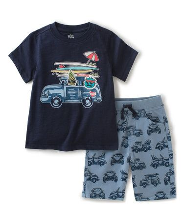 This Navy Surf Board Tee & Blue Shorts - Toddler & Boys is perfect! #zulilyfinds