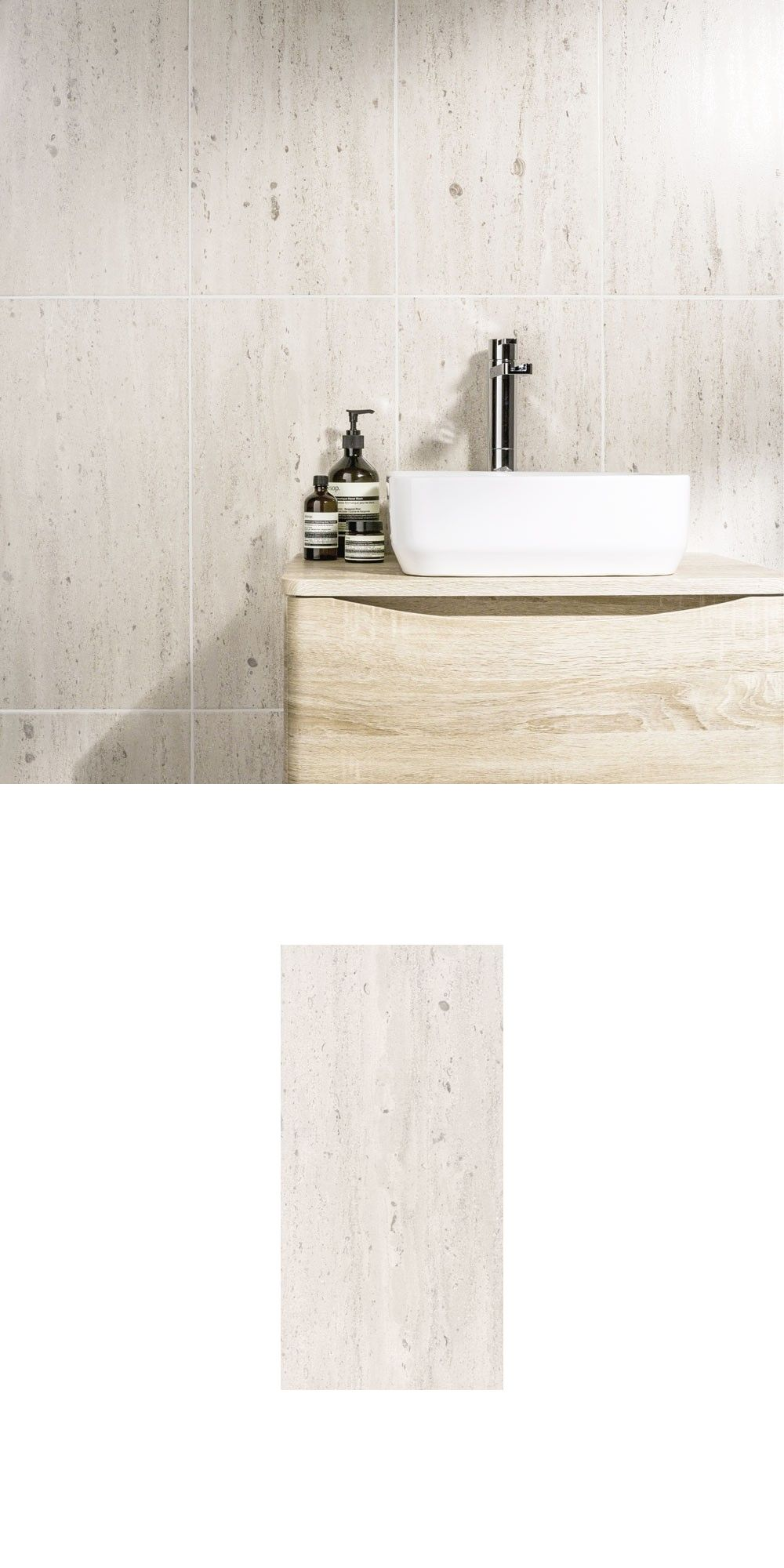 These Classic Travertine Effect Tiles emulate a travertine stone ...