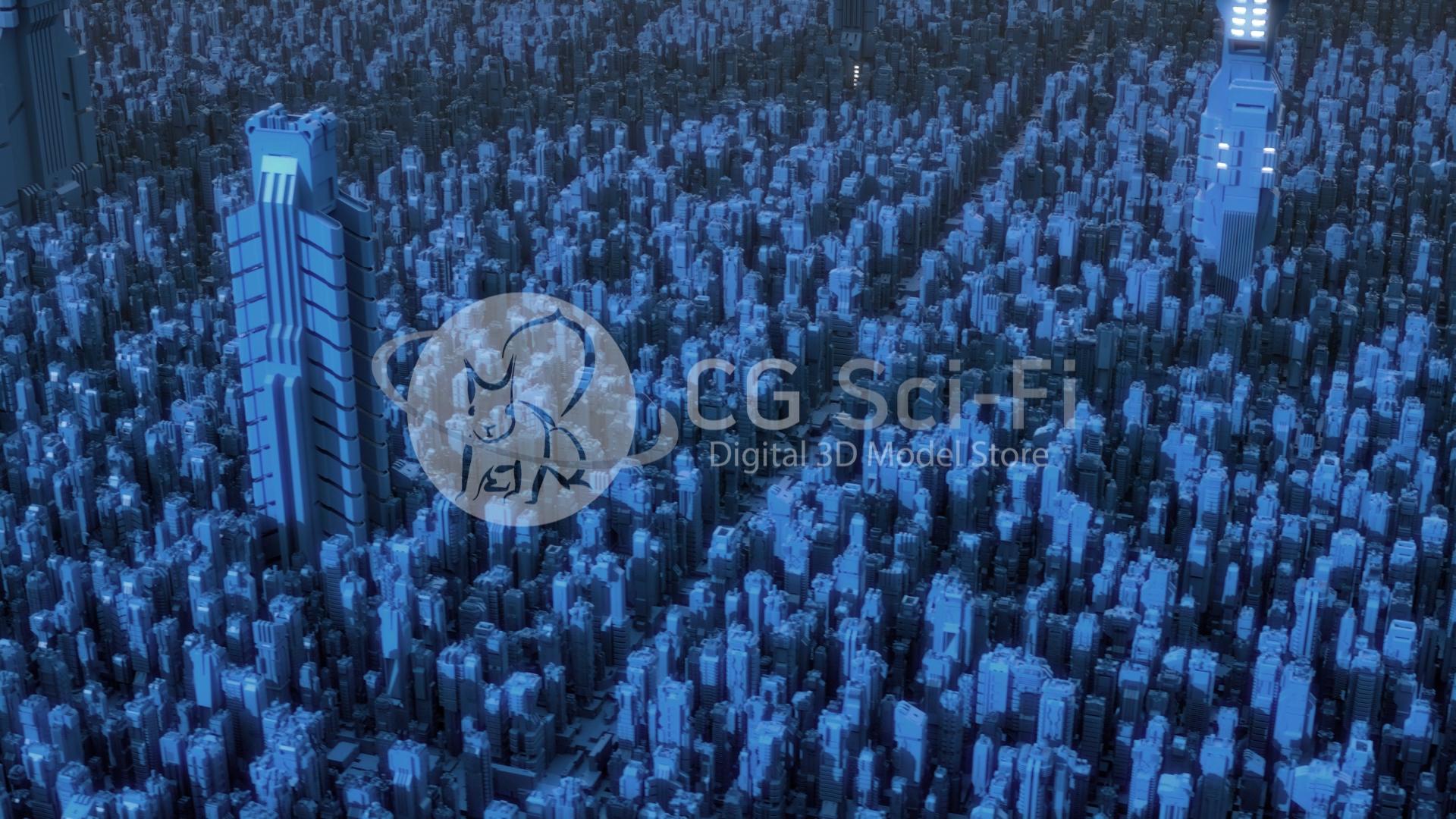 A flyover of a Sci-Fi futuristic cityscape with huge