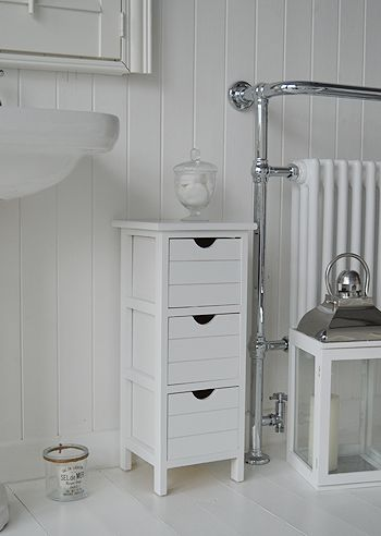 Side Photo Of Portland Narrow White Bathroom Storage Cabinets. A Three  Drawer Free Standing Storage