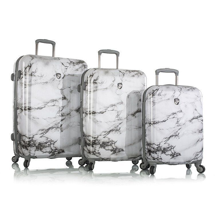 Luggage Set Bianco Suitcase Fashion Spinner White Hardcase 3pc