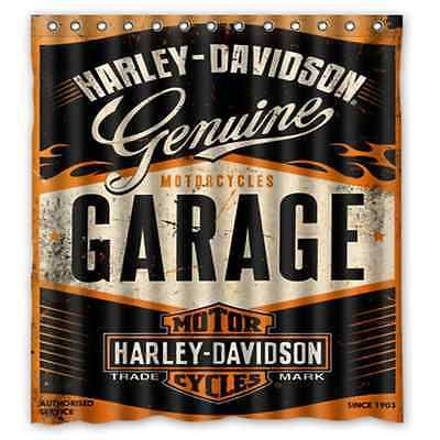 New Custom Bathroom Decor Shower Curtain Harley Davidson Garage    Http://home