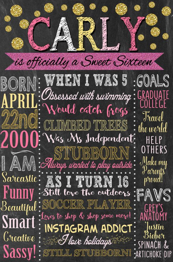 Sweet 16 Birthday Board Poster Custom For By Customprintablesny Sweet 16 Birthday 16th Birthday Party Birthday Board