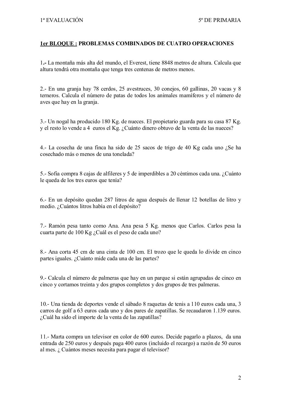 Coleccion de problemas de matematicas 5 quinto de primaria | *DUAL ...