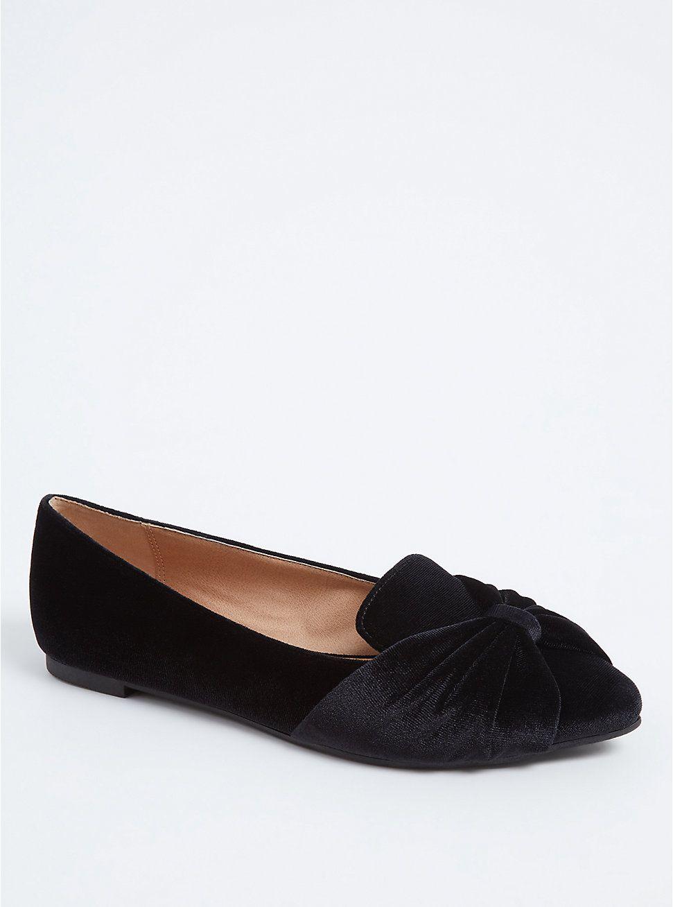 Black Velvet Pointed Toe Flat (WW) in
