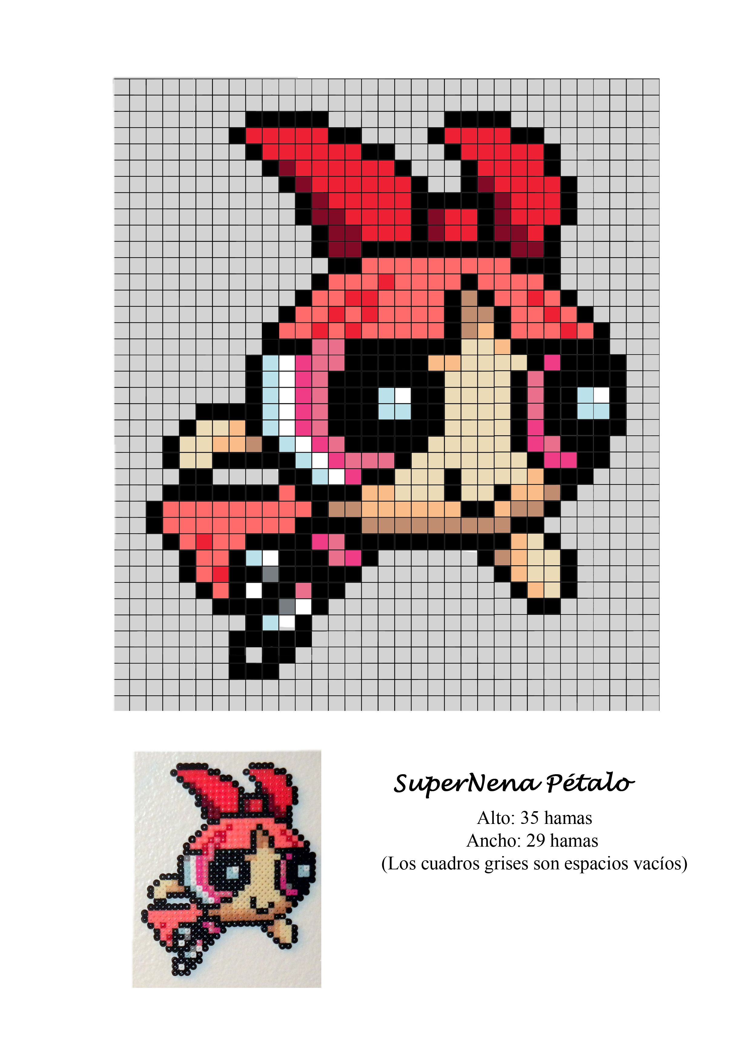 Powerpuff Girls Blossom hama perler beads pattern | punto d cruz ...