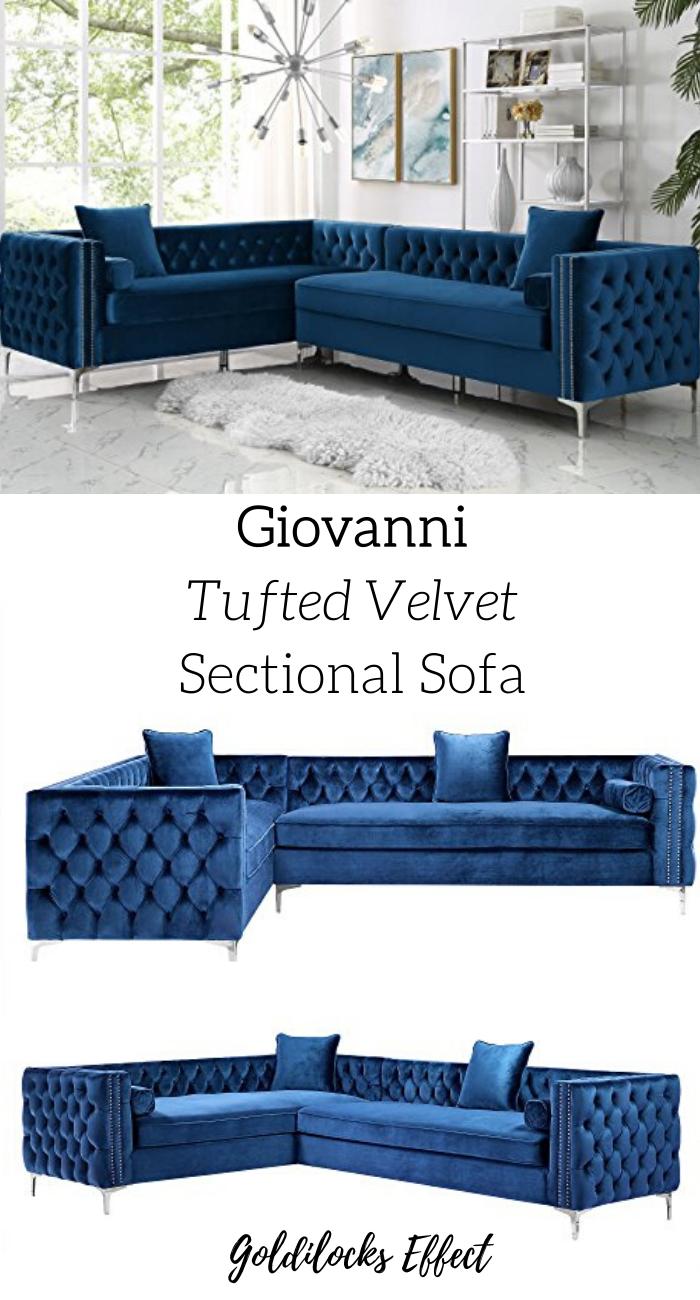 Giovanni Velvet Left Facing Corner Sectional Navy 120 In 2020 Corner Sectional Sofa Sectional Sofa Velvet Corner Sofa