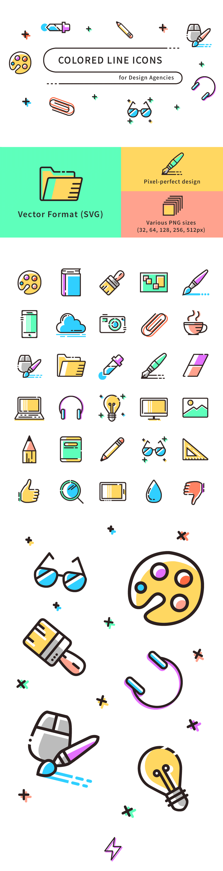 Freebie Colored Line Icons Svg Png Codrops Line Icon Art Icon Icon Design