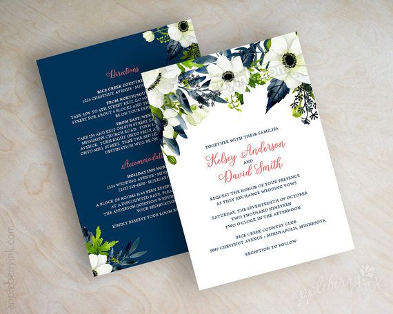 Blue And Coral Wedding Invitations: Floral Wedding Invitations, Watercolor Wedding Invitation
