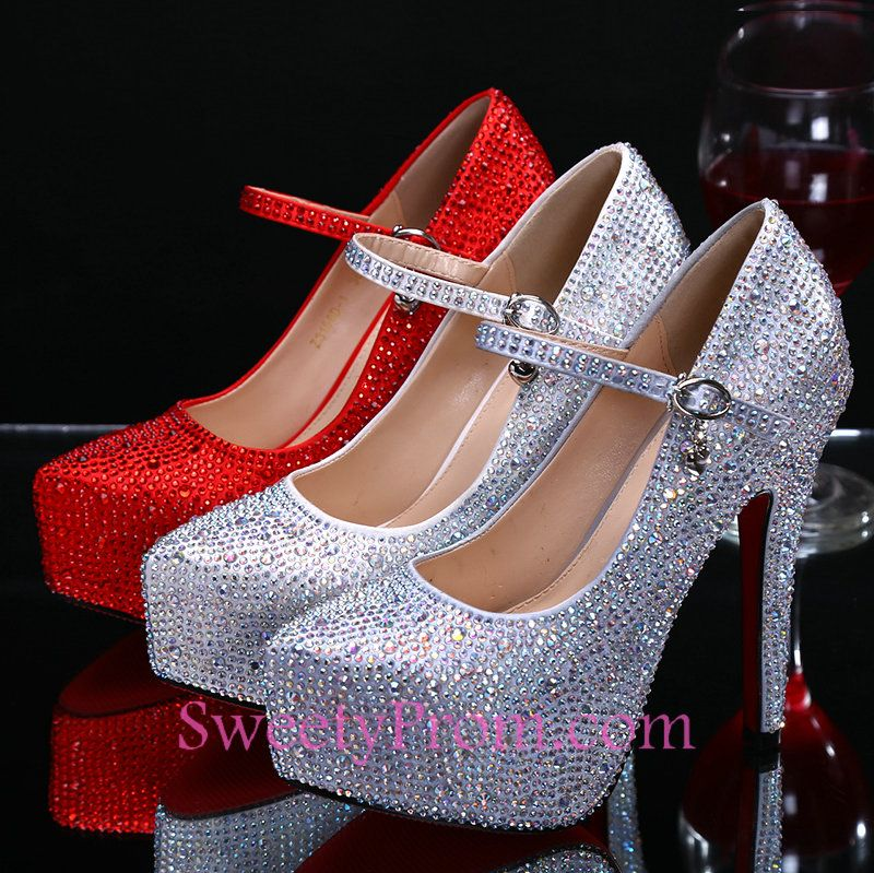 Round Toe High Heel Dark Champagne Rhinestone Heels Red Silver Bridal  Wedding Shoes 8ebea3b886bf