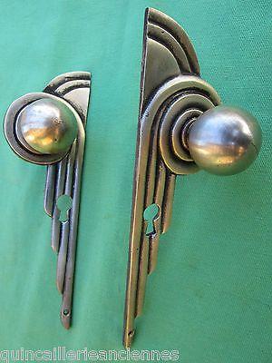 2 boutons boules entrées serrure art déco laiton chromé ancienne