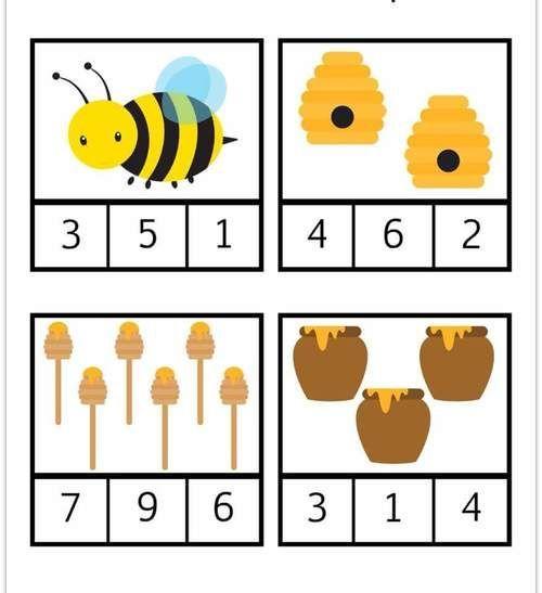 Fiche de suivi GS : Les cartes à compter (thème abeille)