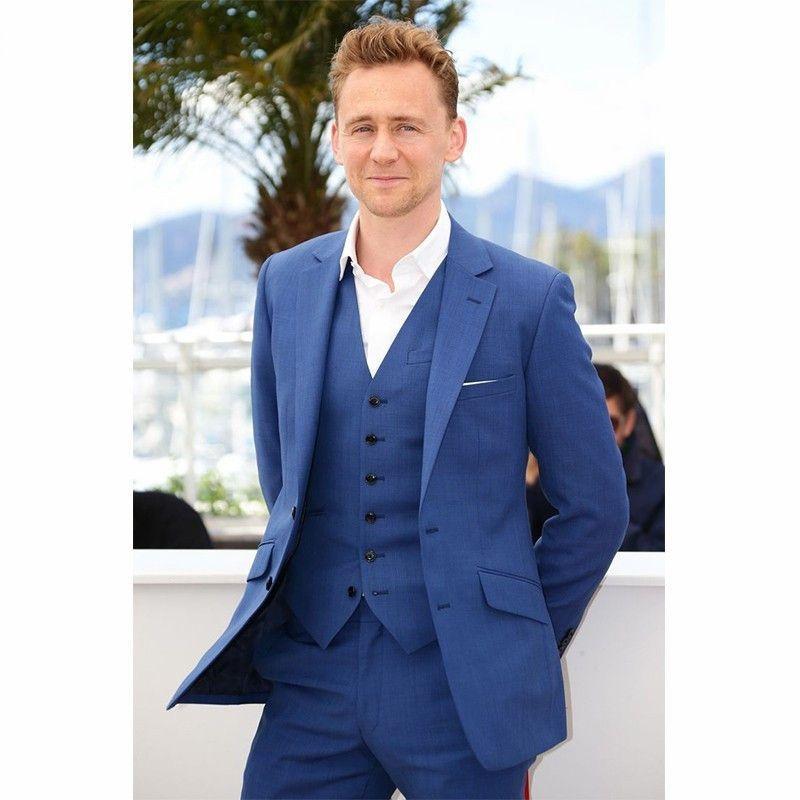 Fashion Style One Button Navy Blue Groom Tuxedos Groomsmen Men\'s ...