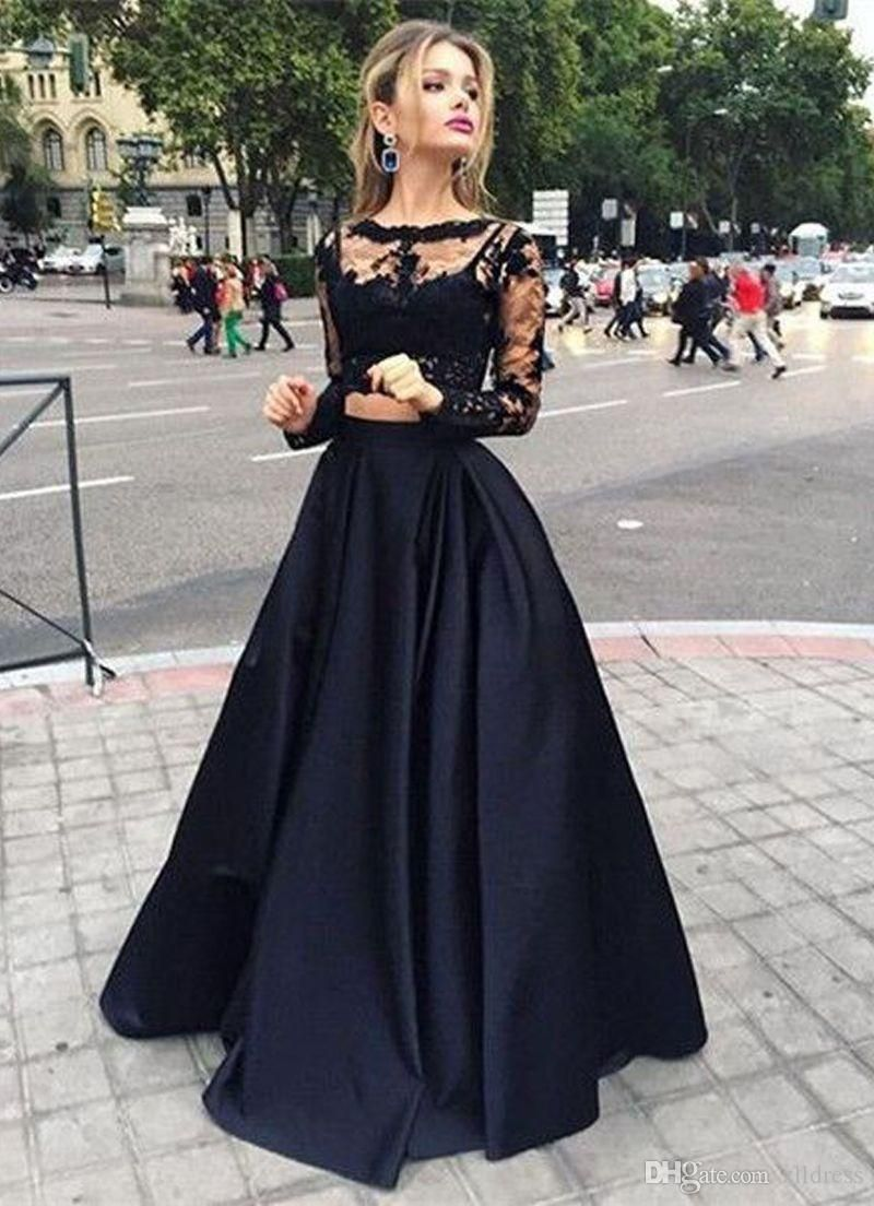Photo of Long Sleeves Prom Dresses Black Two Pieces Lace Top And Satin Sheer Crew Neck Special Occasion Dresses Victorian Style Party Dress From Zlldress, $ 49.25 | Dhgate