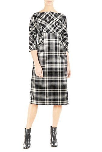 I <3 this Flannel check empire seamed A-line dress from eShakti