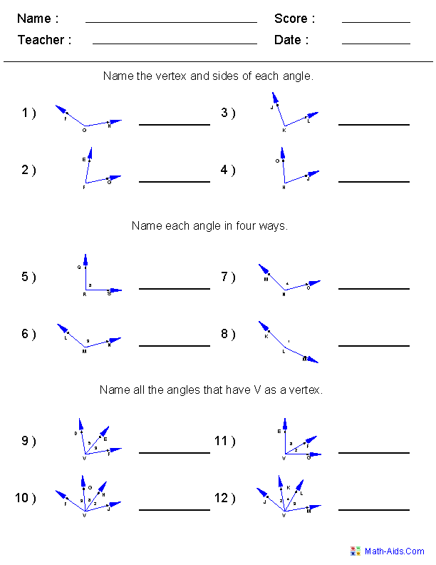 Naming Angles Worksheets 6th grade math Pinterest