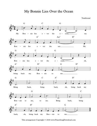 My Bonnie Lies Over The Ocean Free Lead Sheet With Melody Chords