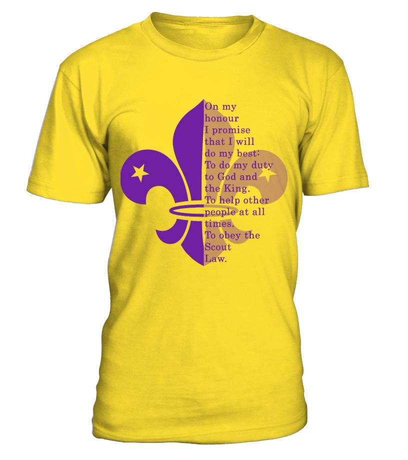 Maglia con disegnato promessa scout con simbolo WOSM di colore viola .    Promise Scout WOSM