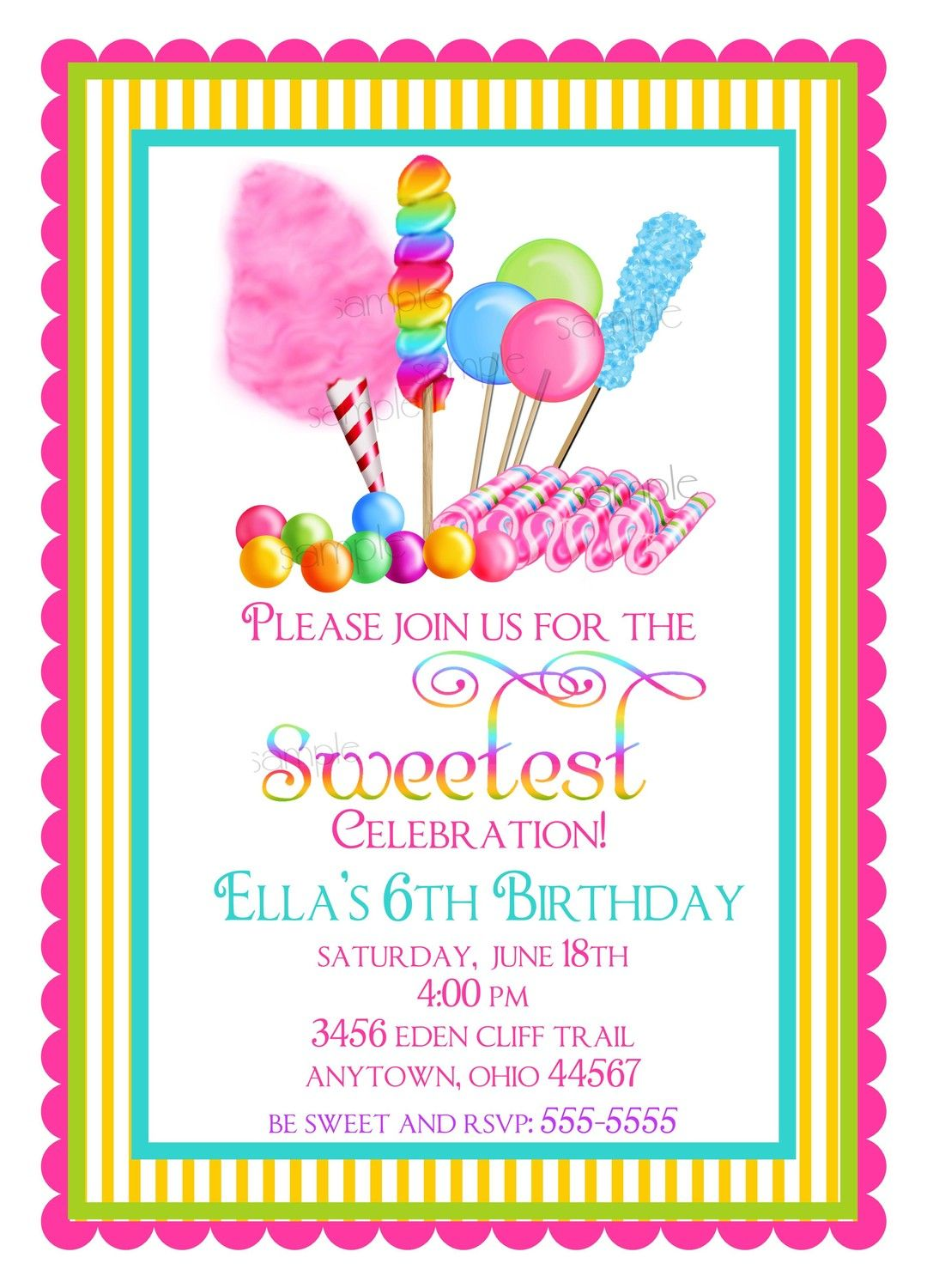 Candy Circus Invitations Sweet Birthday Party
