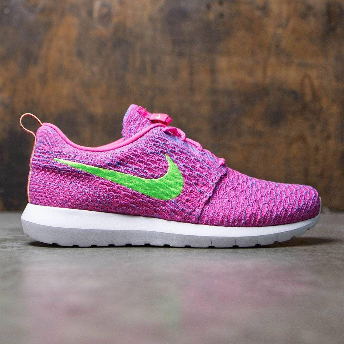 despierta Casco flojo  Nike Men Flyknit Roshe Run (pink / blue / neon) | Pink nike shoes, Nike  men, Nike