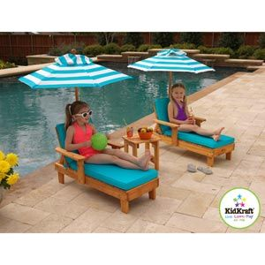 High Quality Kidkraft Youth Chaise Lounger Chair Set Of 2 With Umbrellas U0026 Table