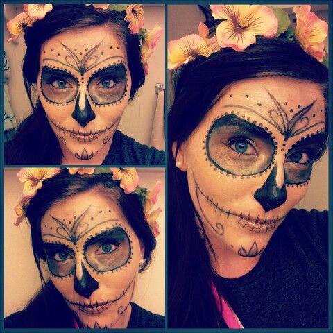 My trial run for Halloween. :-) #sugarskull #dayofthedead #Halloween