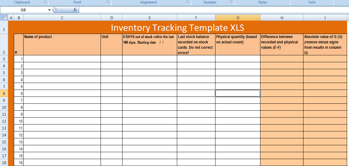 Free Excel Inventory Tracking Template Xls Excel Xls Templates
