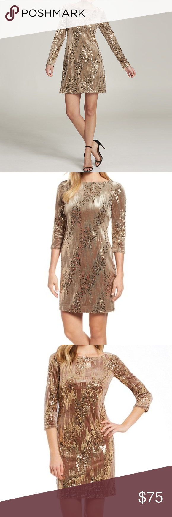 11b53402 Eliza J Sequin & Velvet Sheath Dress Asymmetrical stripes of sequins over  velvet bring rich texture and shine to a sophisticated sheath that's  perfect for ...
