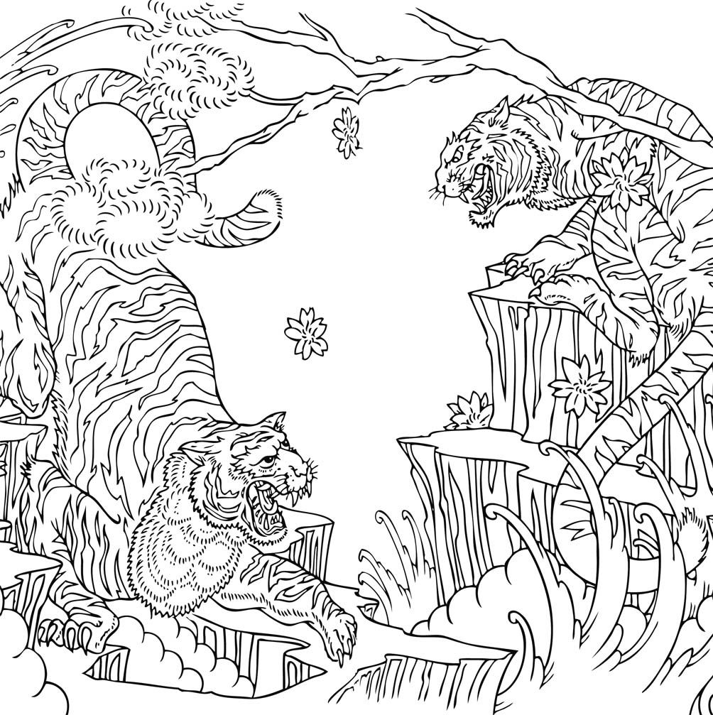 tiger Coloring pages colouring adult detailed advanced printable Kleuren voor volwassenen coloriage pour adulte anti