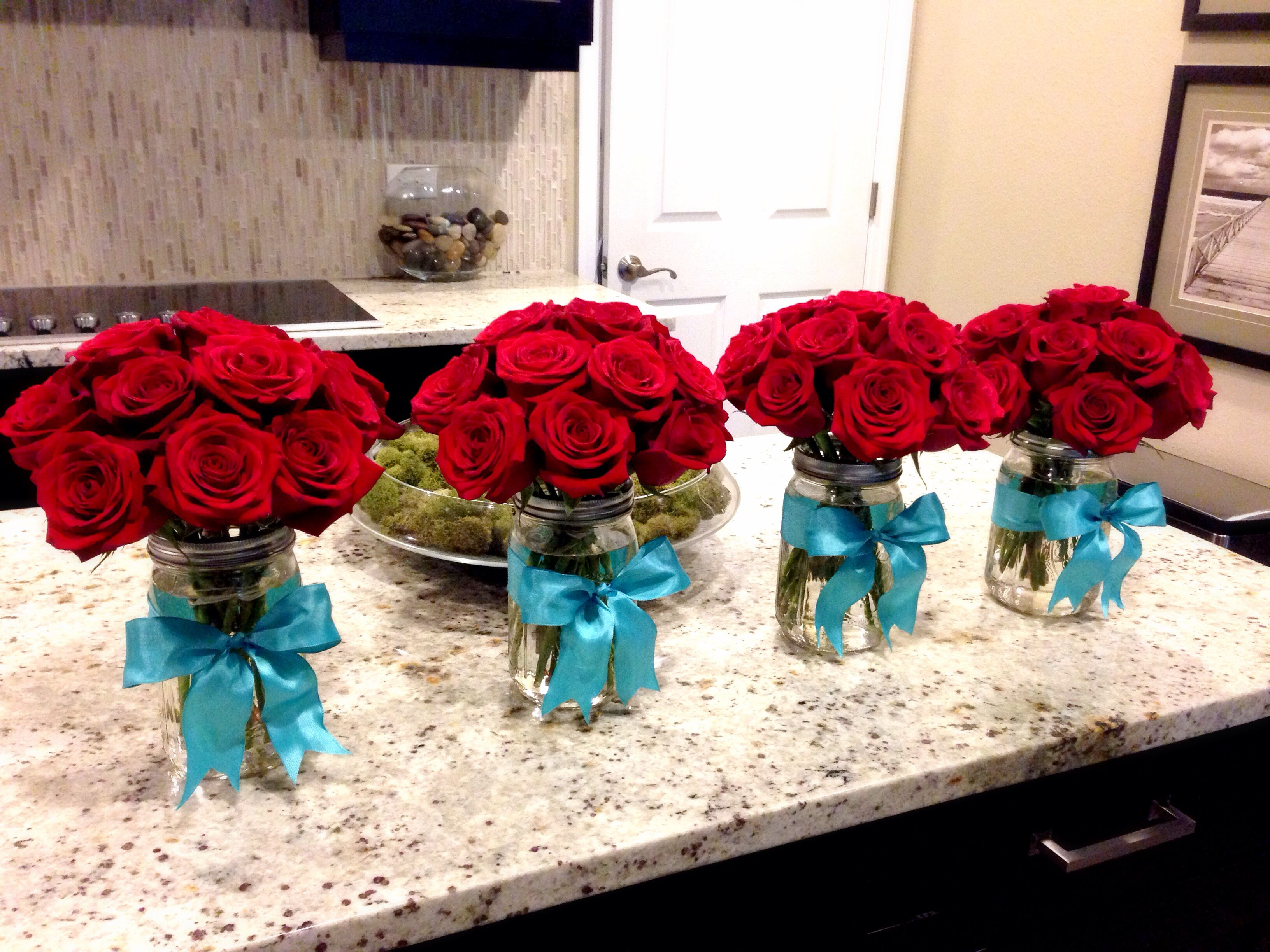 Red roses in mason jars red and teal 1 pinterest teal jar red roses in mason jars red and teal wedding decorationswedding ideasred junglespirit Images