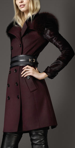 Burberry ♥ MidLength Fur Detail Wool Cashmere Trench Coat